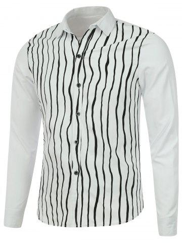 Store Long Sleeve Vertical Striped Button Up Shirt WHITE 3XL