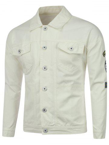 Discount Buttoned Pocket Patched Embroidered Jacket