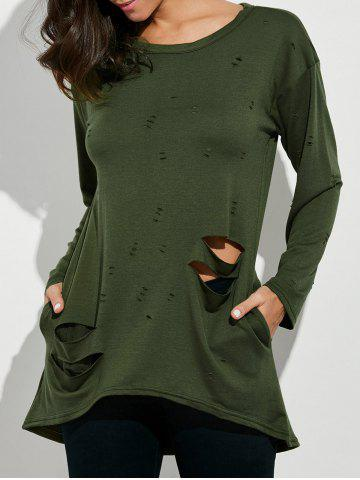 Oversized Long Sleeve Distressed T-Shirt - Army Green - S