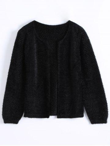 Chic Short Fuzzy Knitted Cardigan BLACK ONE SIZE