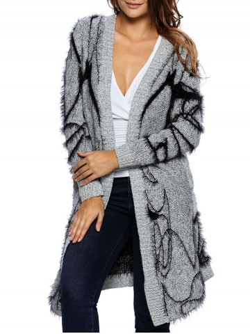 Chic Long Collarless Fuzzy Cardigan GRAY ONE SIZE
