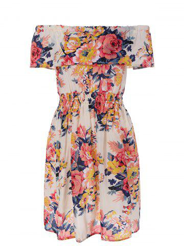 Fashion Off-The-Shoulder Shirred Floral Flare Dress