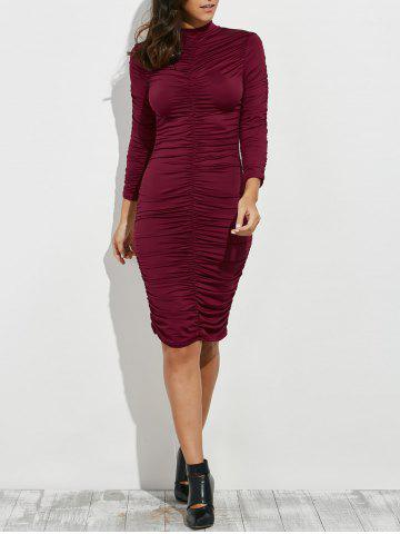 New Ruched Bodycon Knee Length Dress