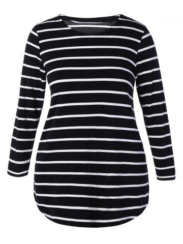 Store Plus Size Striped Mini Dress