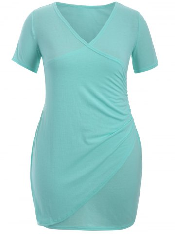 Affordable Plus Size Ruched Surplice Dress LIGHT GREEN 2XL
