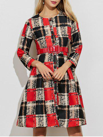 Discount A Line Button Up Plaid Belted Dress RED XL