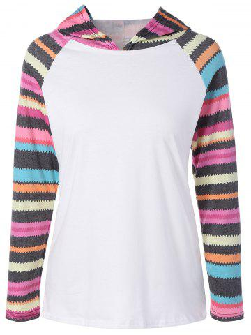 Cheap Hooded Striped Raglan Sleeves T-Shirt