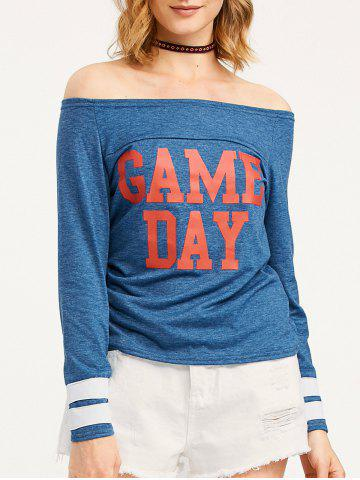 Latest Game Day Print Off The Shoulder T-Shirt BLUE XL