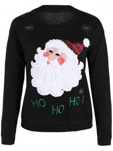 Latest Pullover Santa Applique Crew Neck Sweater BLACK ONE SIZE