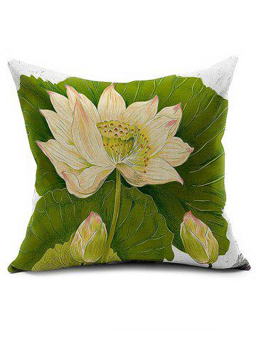Fancy Lotus Printed Linen Home Decor Throw Pillow Cover COLORMIX
