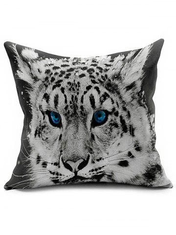 Discount Linen Tiger Head Printed Car Seat Cushion Pillow Cover BLACK WHITE