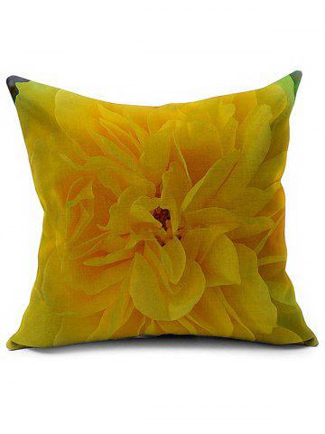 Outfits Floral Printed Linen Office Backrest Pillow Cover YELLOW