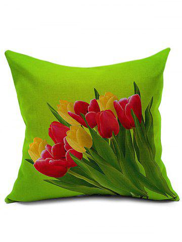 Affordable Tulip Printed Linen Sofa Backrest Pillow Cover GREEN