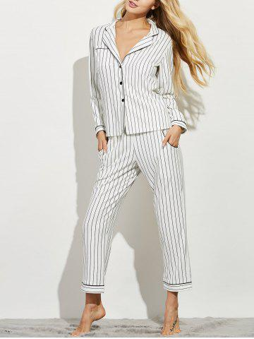 Chic Striped Button Up Loungewear Twinset