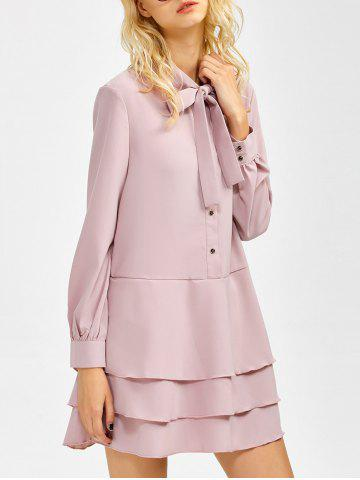 Shops Bow Tie Collar Buttoned Tiered Dress