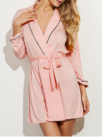 Shops Belted Long Sleeves Wrap Sleepwear SHALLOW PINK L