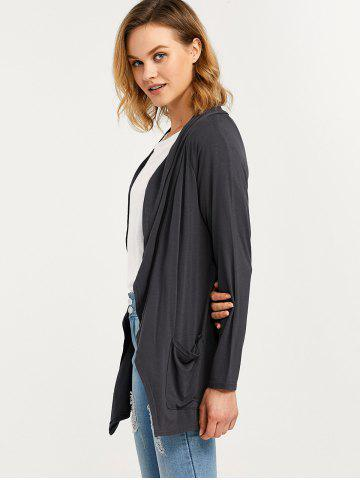 Online Raglan Sleeve Pocket Draped Coat - XL DEEP GRAY Mobile