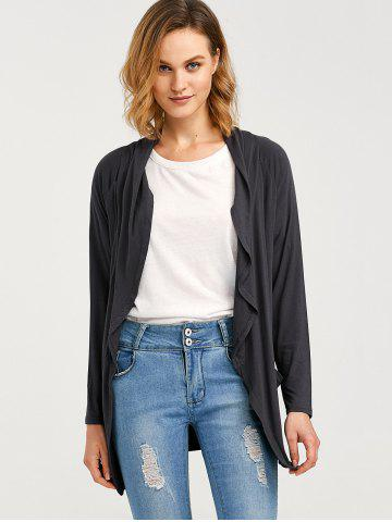 Sale Raglan Sleeve Pocket Draped Coat - XL DEEP GRAY Mobile