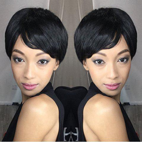 Shop Spiffy Short Oblique Bang Straight Bob Synthetic Wig