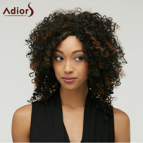 Hot Highlight Medium Afro Curly Side Bang Synthetic Wig
