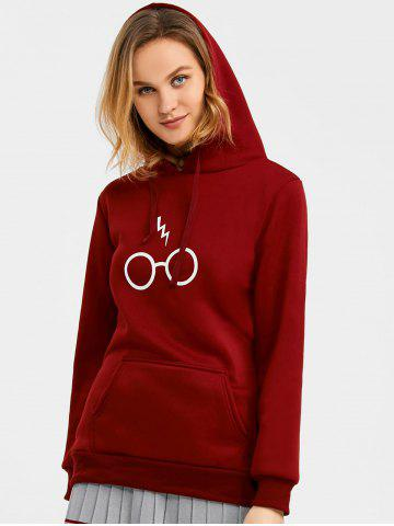 Fancy Drawstring Graphic Fleece Hoodie WINE RED XL