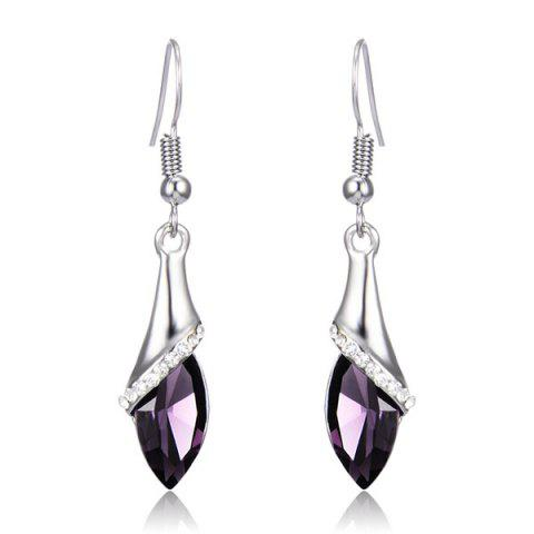 Best Faux Crystal Zircon Drop Earrings - PURPLE  Mobile