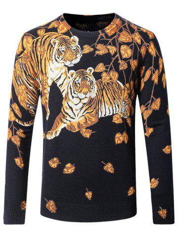 Sale Tiger Pattern Crew Neck Thicken Sweater