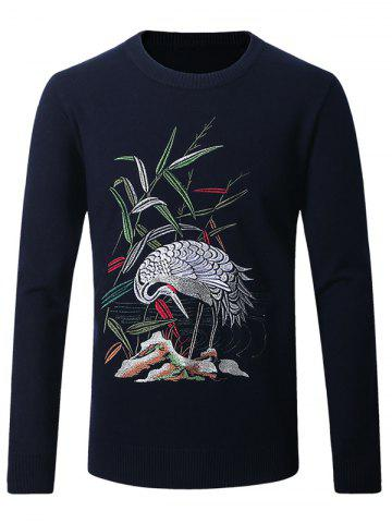 Cheap Crane Embroidered Crew Neck Thicken Sweater
