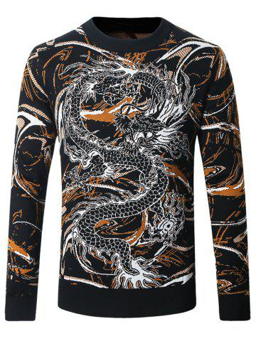 Affordable Dragon and Scrawl Pattern Sweater BLACK 4XL