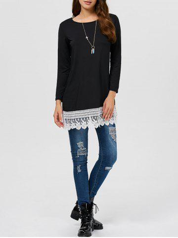 Chic Lace Trim Tunic Top