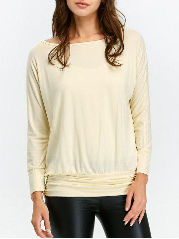 Ruched Long Sleeve T Shirt - Beige - S