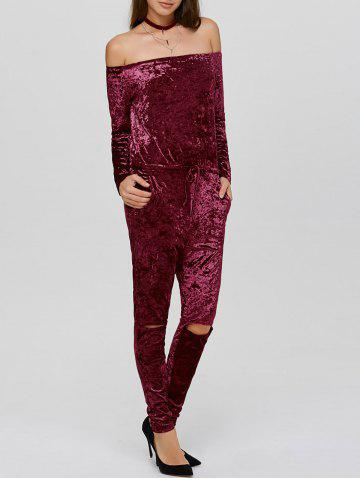 Latest Ripped Off The Shoulder Velvet Long Sleeve Jumpsuit WINE RED XL