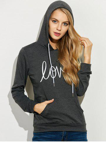 Outfit Casual String Printed Hoodie DEEP GRAY XL