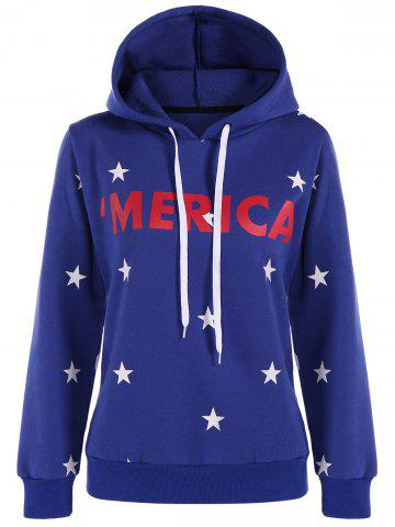 Shops Graphic Star Pullover Hoodie BLUE 2XL