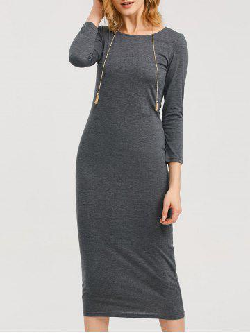 Trendy Tea Length Fitted Sheath Dress DEEP GRAY 2XL