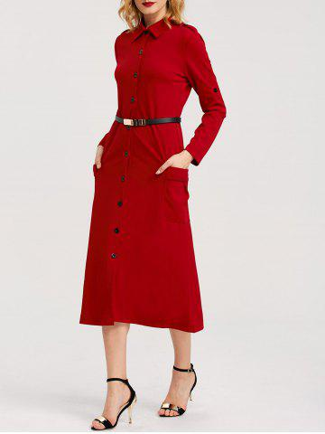 Unique Belted Midi Shirt Dress With Pocket