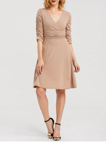 Store Knee Length Ruched Surplice Dress