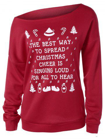 Store Casual Skew Neck Merry Christmas Sweatshirt RED 2XL