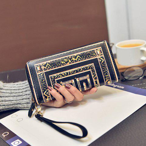 Shops Color Block Printed PU Leather Wallet