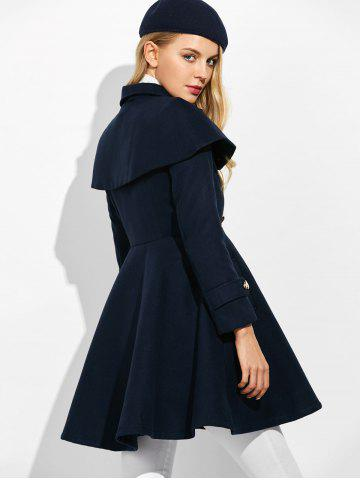Best Double Breasted Ruffle Skirted A Line Coat - L PURPLISH BLUE Mobile