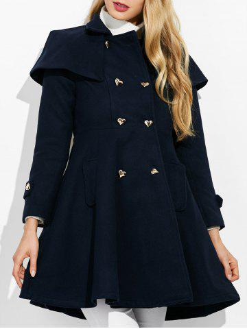Double Breasted Ruffle Skirted A Line Coat - Purplish Blue - M