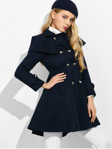 Cheap Double Breasted Ruffle Skirted A Line Coat - S PURPLISH BLUE Mobile