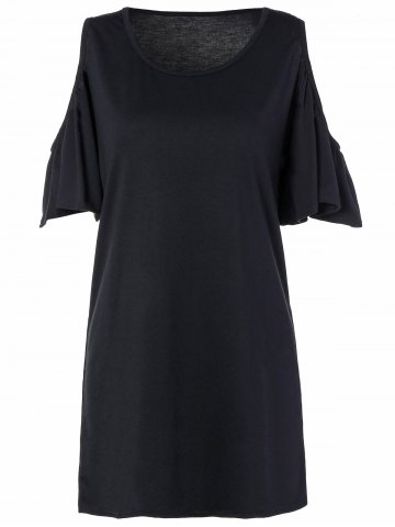 Trendy Loose Open Shoulder Flounce Sleeve Mini Dress With Sleeves BLACK L