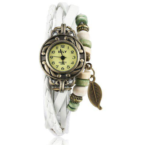Online Artificial Leather Braid Leaf Bracelet Watch WHITE
