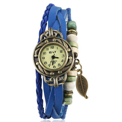 Store Artificial Leather Braid Leaf Bracelet Watch