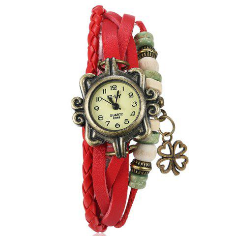 Discount Artificial Leather Braid Clover Bracelet Watch RED