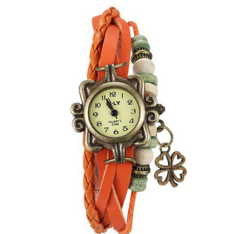Affordable Artificial Leather Braid Clover Bracelet Watch