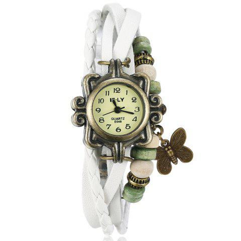 Chic Artificial Leather Braid Butterfly Bracelet Watch WHITE