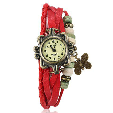 Latest Artificial Leather Braid Butterfly Bracelet Watch RED