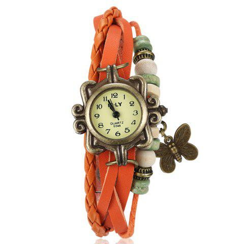 Affordable Artificial Leather Braid Butterfly Bracelet Watch ORANGE